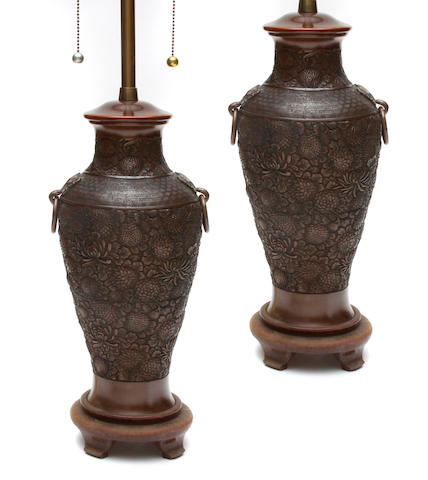 A pair of Japanese bronze vases now as table lamps