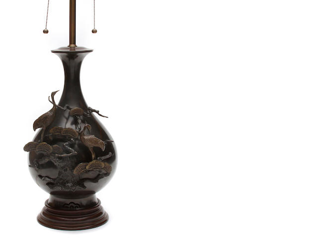 A Japanese bronze vase now as a table lamp
