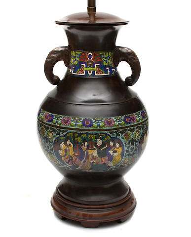 A large Chinese bronze and cloisonne vase now as a table lamp