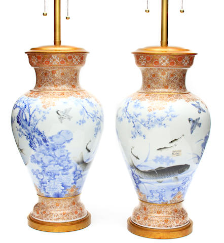 A pair of Japanese imari style porcelain lamps now as table lamps