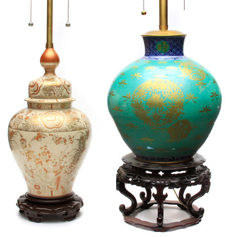 A Japanese Satsuma vase now as a table lamp