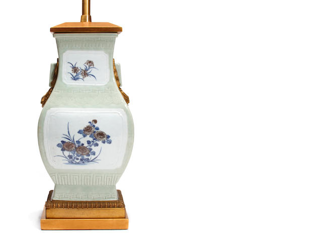 A Chinese celadon porcelain vase now as a lamp