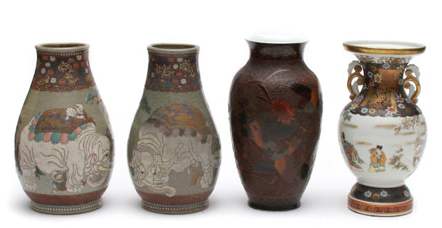 A group of seven porcelain vases