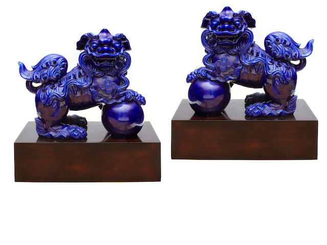 A pair of blue glazed porcelain ?