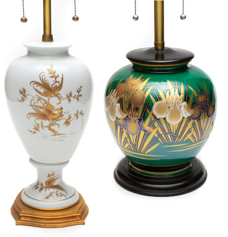Two porcelain vases, now as table lamps