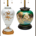 Two porcelain vases mounted as table lamps