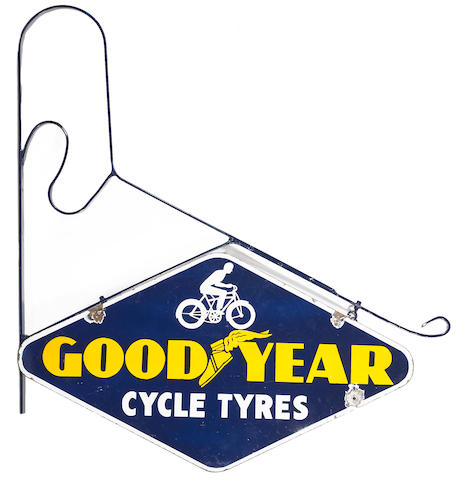 A Goodyear cycle tyers sign on hanger, c.1930s,