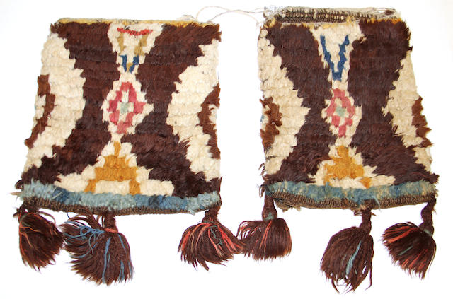 A pair of rare Bolivian Spanish colonial pile-woven saddle bags