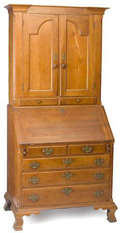 A Chippendale walnut desk and bookcase<BR />Pennsylvania, late 18th century