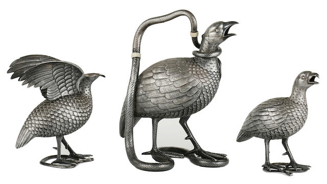 A silver three-peice tea service in the form of three francolins by Oomersee Mawjee, Bhuj, circa 1870