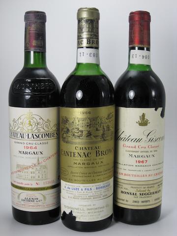 Château Lascombes 1964 (5)<BR />Château Cantenac-Brown 1966 (1)<BR />Château Giscours 1967 (2)<BR />Château d'Angludet 1979 (3)