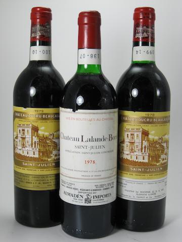 Château Ducru-Beaucaillou 1978 (2)<BR />Château Ducru-Beaucaillou 1979 (9)<BR />Château Lalande-Borie 1978 (1)