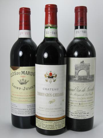 Château Léoville-Las-Cases 1970 (5)<BR />Château Terrey-Gros-Cailloux 1975 (2)<BR />Clos du Marquis 1983 (5)