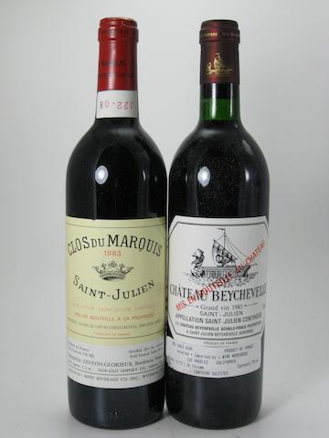 Château Beychevelle 1985 (9)<BR />Clos du Marquis 1983 (3)