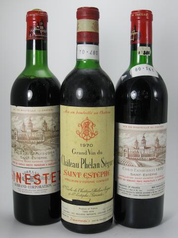 Château Cos d'Estournel 1966 (4)<BR />Château Cos d'Estournel 1970 (1)<BR />Château Cos d'Estournel 1971 (1)<BR />Château Cos d'Estournel 1988 (1)<BR />Château Phélan-Ségur 1970 (4)<BR />Château Haut-Marbuzet 1989 (1)