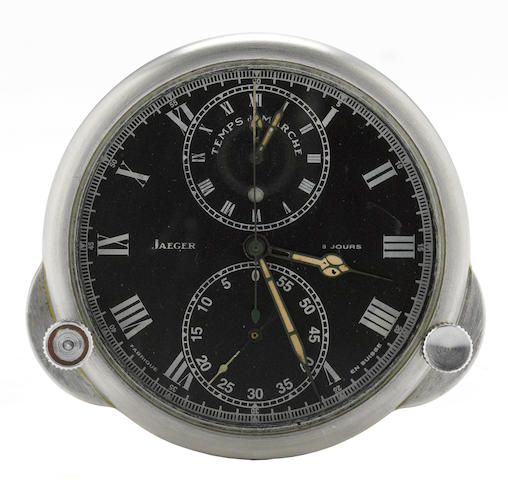 A Jaeger Le Coultre Clock, 'Temps du Marche,' eight day car clock,