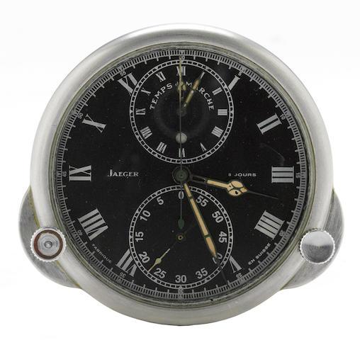 A Jaeger Le Coultre Clock, 'Temps du Marche,' eight day car clock,