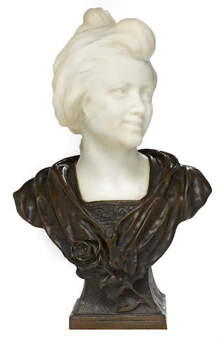 Bronze and marble idealized bust of a woman <BR />from the model by P. Bobbias