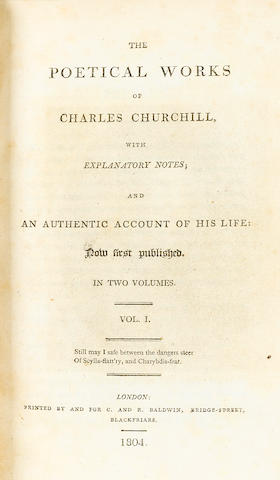 CHURCHILL, CHARLES.  [TOOKE, WILLIAM, editor.] The Poetical Works. London: C. and R. Baldwin, 1804.