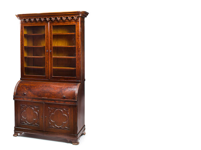 A Classical Walnut, Mahogany and Satinwood Cylinder Secretary<BR />Attributed to John and Joseph W. Meeks (w. 1836-1857)<BR /> New York City<BR />circa 1836-1850