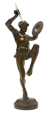A patinated bronze figure of Bachante by E.J. Piron