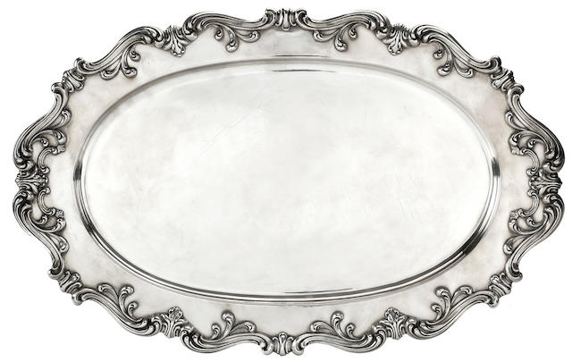 An American sterling silver serving tray, Watson & Co., mid-20th century