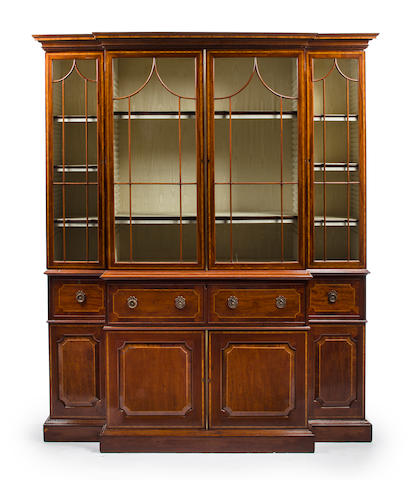 A late George III inlaid mahogany breakfront secretary bookcase<BR />circa 1800