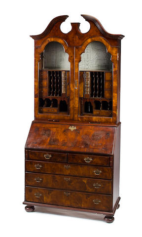 A George II style walnut veneered bureau bookcase<BR />mid-late 19th century