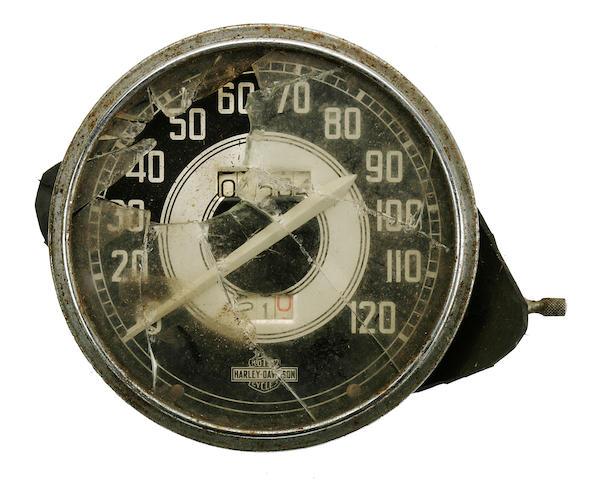 A Harley-Davidson speedometer,