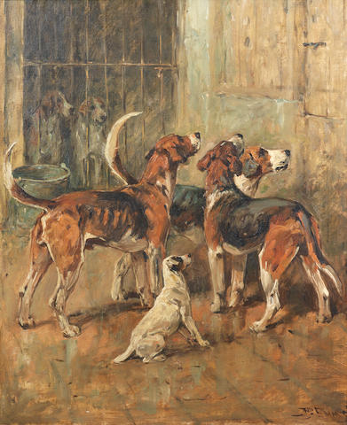 John Emms (British, 1843-1912) Hounds and a Terrier in kennels 17 x 14 in. (43.5 x 36 cm.)