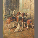 John Emms (British, 1843-1912) Hounds and a Terrier in kennels 17 x 14in. (43.5 x 36cm.)