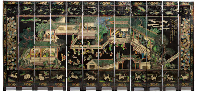 A Chinese coromandel twelve-panel screen, expected wear