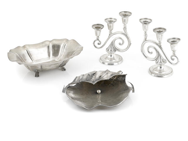 An assembled International group of sterling silver hollowware and lighting 20th century