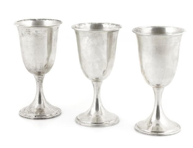 A set of twelve American  sterling silver  goblets by S. Kirk & Son, Baltimore, second quarter 20th century