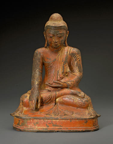 A Burmese cast metal figure of Buddha, 20th century, height 18 3/4in