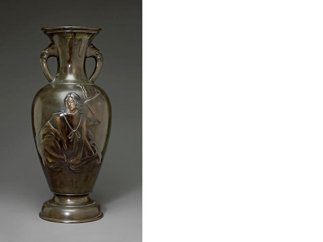 A patinated vase with Kabuki actor