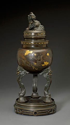 A bronze tripod incense burner with lion finial