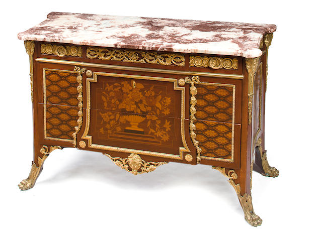 A Louis XVI style gilt bronze mounted marquetry commode, after a model by Jean-Henri Riesener, France, fourth quarter 19th century