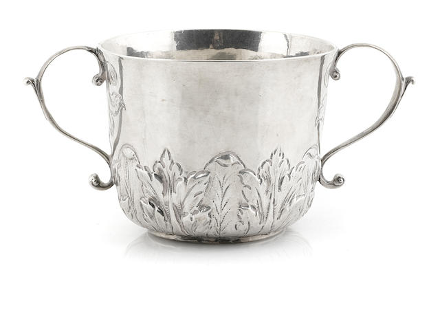 A  silver two handled cup