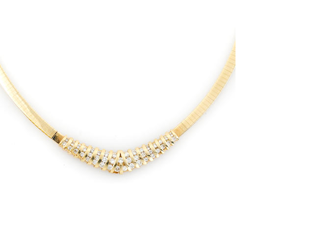 A diamond and 14k gold omega necklace