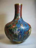A large cloisonné enameled metal vase  19th century