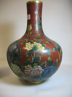 A large cloisonné enameled metal vase<BR /> 19th century