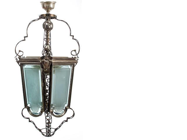 Victorian silvered brass hanging lantern