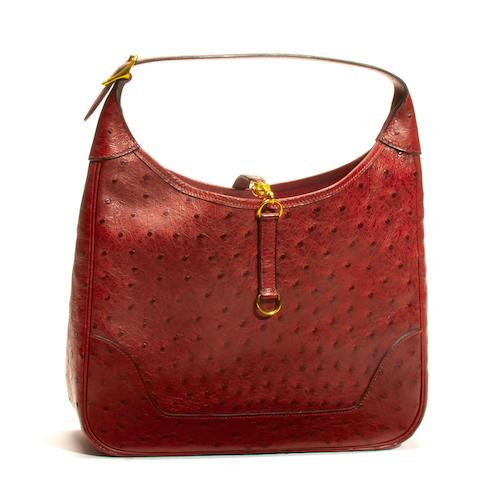 An Hermès burgundy ostrich Trim handbag