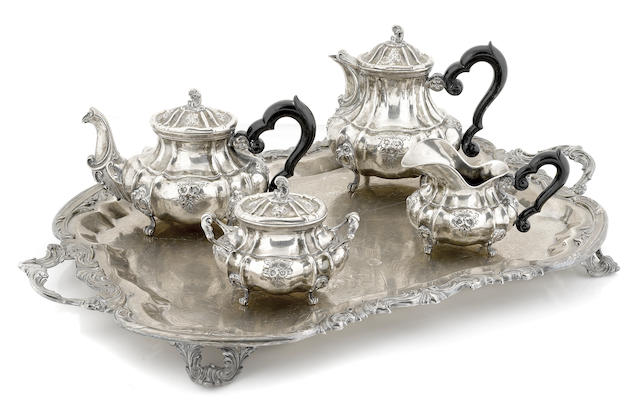 An Italian  800 standard silver four piece tea and coffee service by Proserpio Achille, Milan,  second quarter 20th century