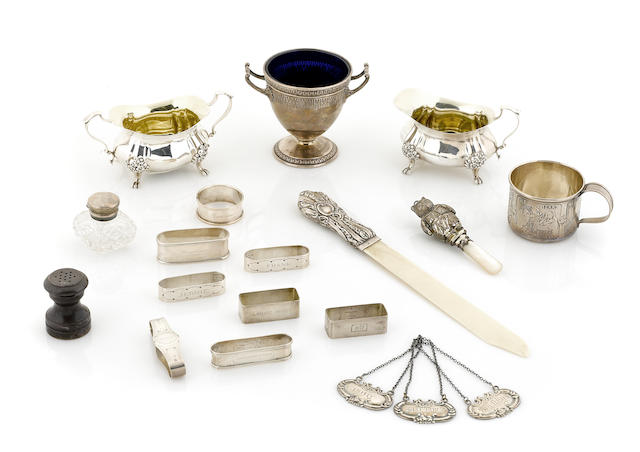 An assembled group of American and English sterling silver accessories and tableware 20th century