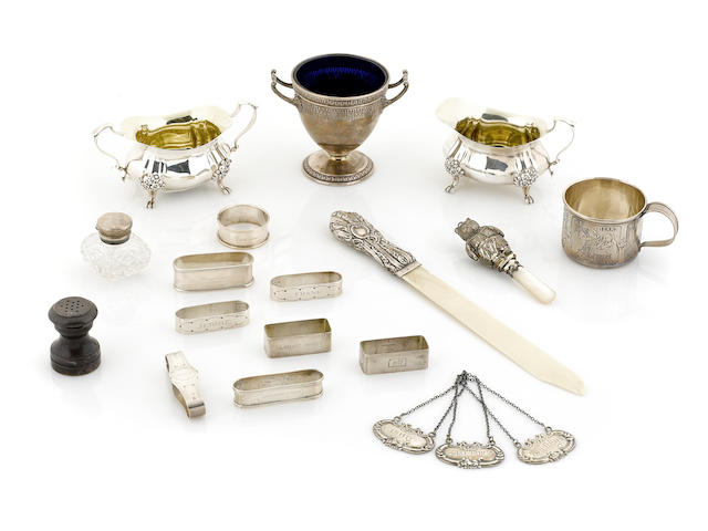 An assembled group of American and English sterling silver articles and accessories