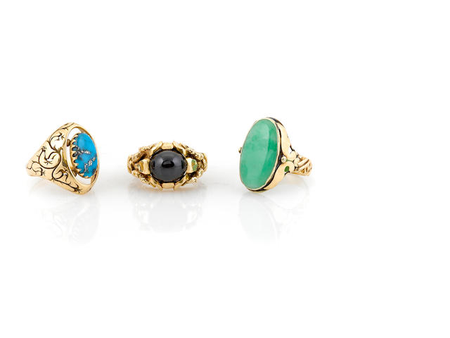 A collection of three gem-set and 14k gold rings