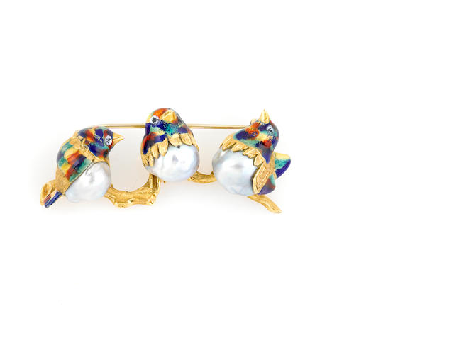 A cultured pearl, enamel and gold three bird brooch