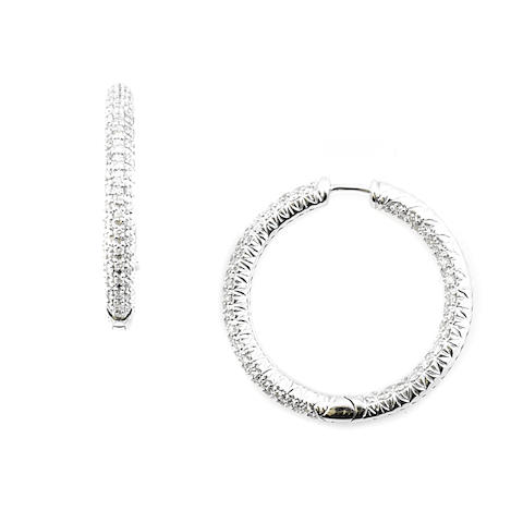 A pair of diamond and white gold earring hoops